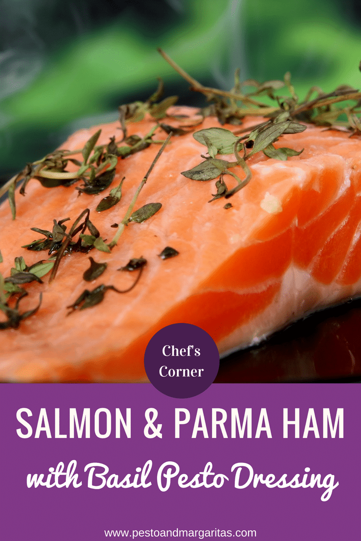 Salmon is a very healthy fish filled with all that Omega-3 goodness.  It also works well with Parma Ham and this dish shows how easy it to make something that sounds very restaurant style.  Click to find the full recipe and enjoy the dish yourself #salmon #parmaham #basil #pesto #salmonrecipe