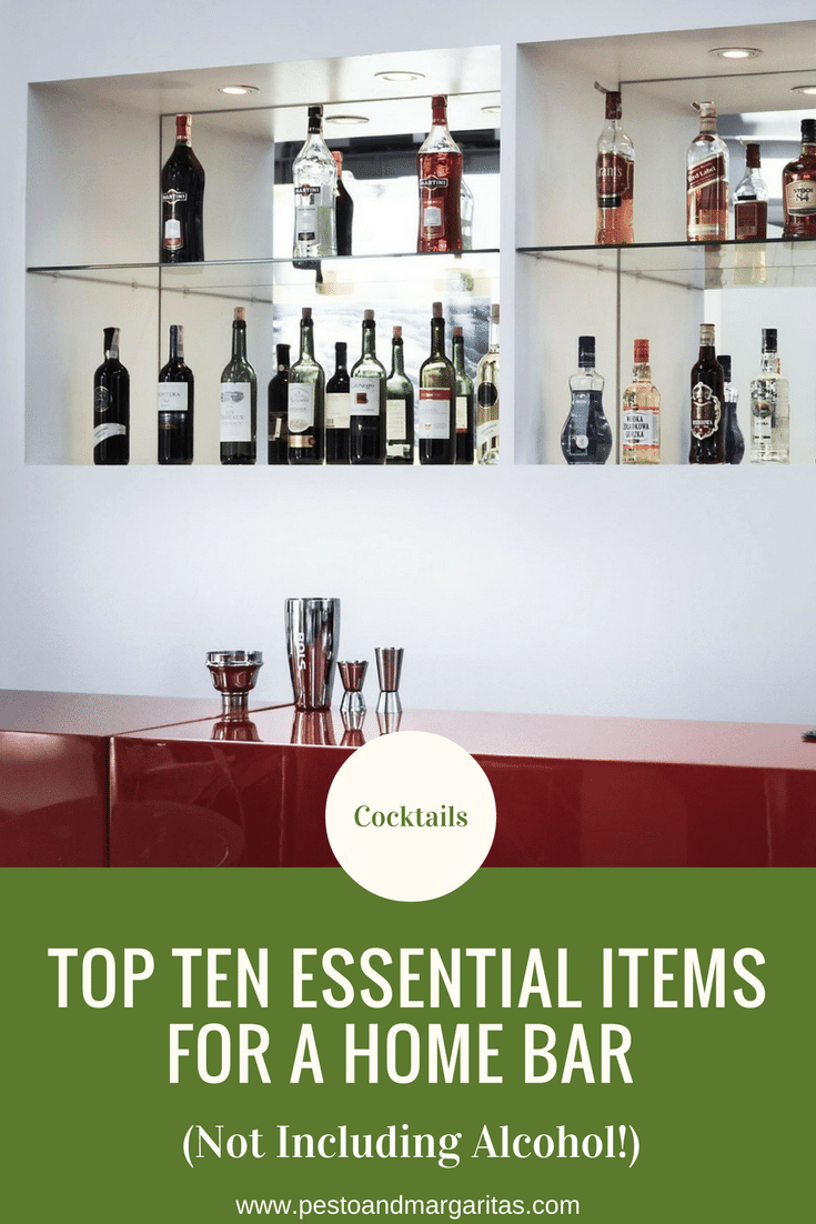 Having your own home bar (or spot in the cupboard) is a great way to have everything you need to make cocktails and other drinks.  But what are the essentials you need to create your own home bar?  Here are the top ten items not including alcohol that you might want to consider #affiliate #cocktail #homebar #bar