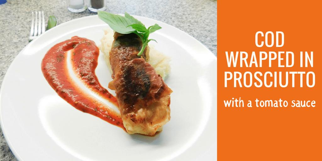 Cod Wrapped in Prosciutto with Tomato Sauce