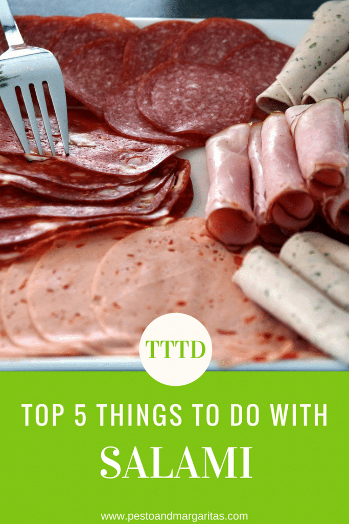 Top 5 things to do with salami - salalmi is a cured meat that is often used in Italian dishes.  Here are five ideas about what you can do with it and how to serve it at parties.  Pin for later!
