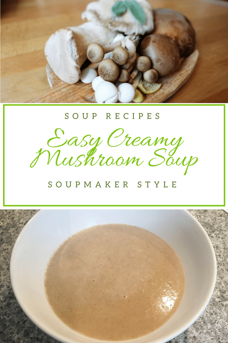 Mushrooms may not be the most exciting food but they do make a great soup.  This creamy mushroom soup is easy to make and very tasty with the addition of garlic.  Click to get the full recipe and also grab the free non-soupmaker version too #soupmaker #souprecipe #mushroomsoup #mushroom #garlic