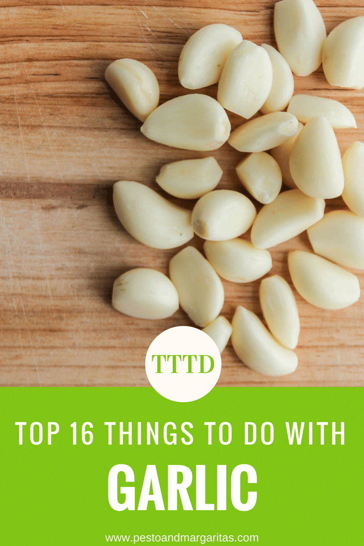 The health benefits of garlic are impressive and so are the list of things to do with garlic. From garlic bread using garlic butter through to garlic oil and puree, here are some ideas of the different types of garlic and what you can do with them. Includes hummus and cauliflower mash recipes #garlic #recipes #garlicbread #garlicbutter #garlicrecipes