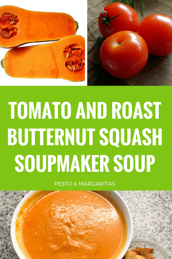 Tomato and Roast Butternut Squash Soupmaker Soup - Grab your soup maker to create this simple soup using tomato and butternut squash. The soup has a little kick with a touch of chilli and can be adapted easily to a variety of different tastes. Pin to try later!